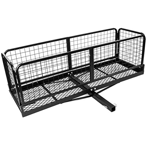 Stark Hitch Cargo Carrier with Basket Capacity 500 Lbs 2 Receivers Collapsible Hitch Mounted Storage Camping Roadtrip (Black)
