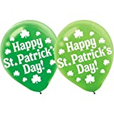 """Amscan Lucky Irish Green Saint Patrick's Day Printed Balloons Party Decoration (Pack of 15), Multicolor, 12"""""""