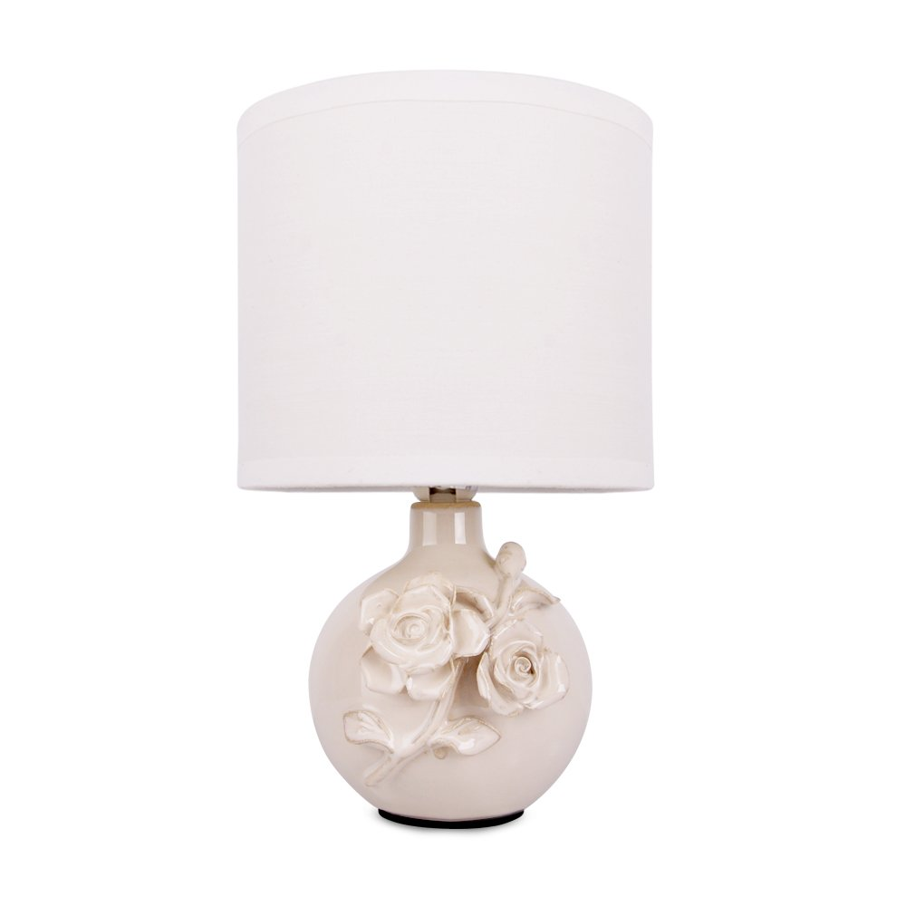 Modern black and silver ceramic pebbles table lamp haysoms - Stunning Cream Ceramic Decorative Traditional Garden Rose Floral Design Table Lamp With Beautiful White Pendant Light Shade Amazon Co Uk Lighting