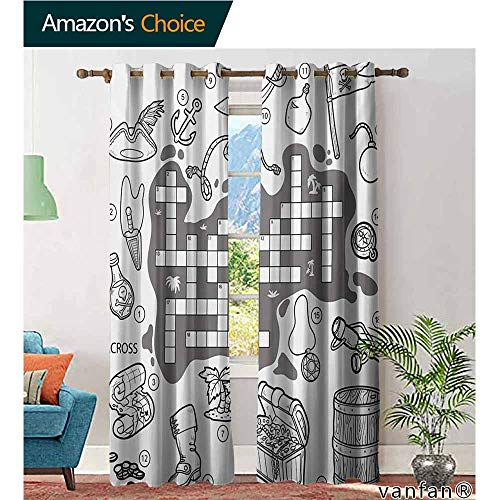 Big datastore Patio Curtain Panel,Word Search PuzzleColorless Pirates Themed Educational Puzzle Treasure Map and Icons,Set of 2 Pieces,Grey Black White,W84 xL108 -