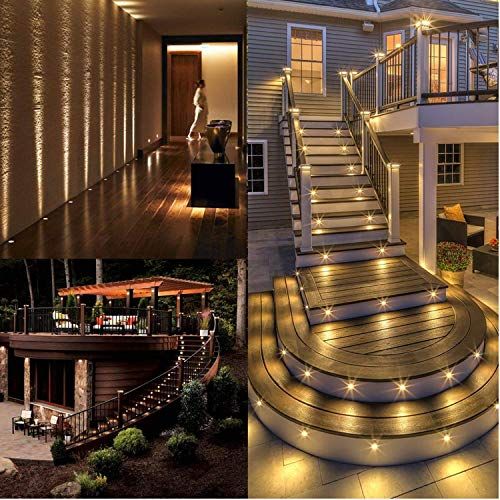 LED Deck Lights Φ1.77'' Low Voltage 1W Waterproof IP67 Outdoor Step Lights Garden Yard Decoration Lamp Recessed Landscape Pathway Step Stair LED Lighting(Warm White/20 Pack) by TONCHU (Image #5)