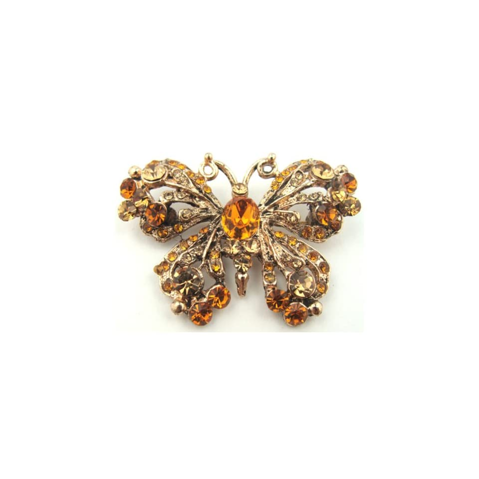 Antiqued Gold with Honey Amber Colored Crystal Butterfly Brooch Pin