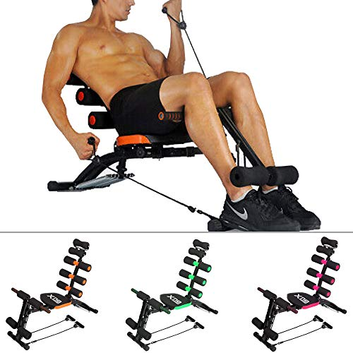 Xn8 Sports Abs Rocket Chair Multi 6 Gym Trainer Exerciser Abdominal Fitness Crunches Machine Workout Training Bench Home Gym Exercise (Black)