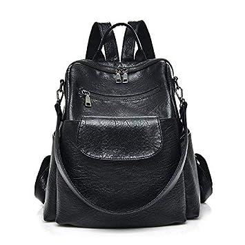 Amazon.com  Women fashion black washed pu leather designer backpack best  waterproof bookbag shoulder bag travel rucksack purse (Black PU )   Different ... a1cadd1f04581