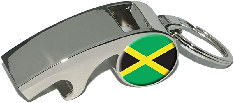 Jamaica Flag National Colours Quality Chrome Keyring Picture Both Sides