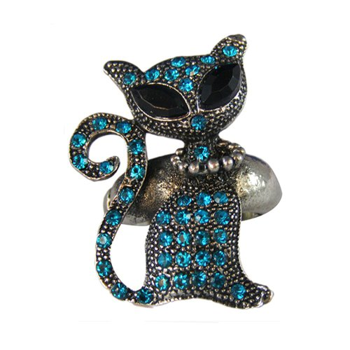 [Twinkle Metal Crystal Ring - Cat (Teal)] (Homemade Gothic Costumes For Women)