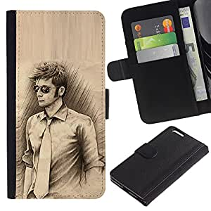 iKiki Tech / Cartera Funda Carcasa - Man Tie Sunglasses Pencil Drawing Art Style - Apple iPhone 6 PLUS 5.5