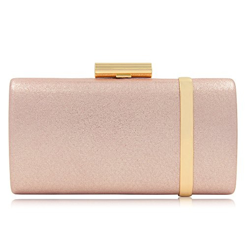 Women Bridal Metallic Evening Clutches Handbag Sparking Solid Clutch Purses (Rose Gold) by Mystic River
