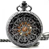 Vantasy Classic Antique Roman Half Hunter Black Steel Metal Hollow Skeleton Hand Wind Mechanical Pocket Watch Long Chain Value Quality