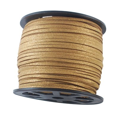 UnCommon Artistry Metallic Glitter Goldenrod Faux Leather Suede Necklace Cord 10 Feet Ultra Microfiber (Cord Leather Gold)