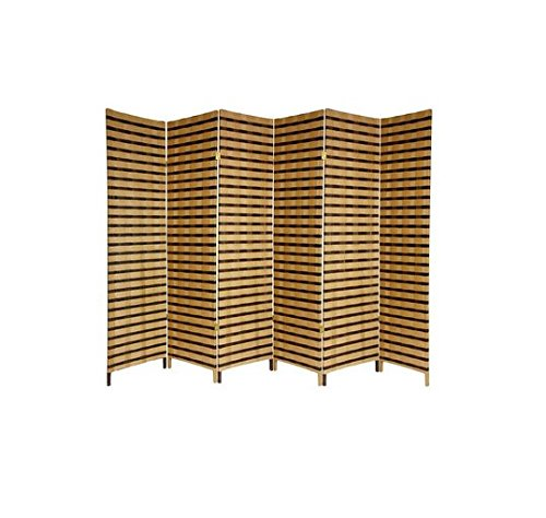 72 x 106.5 in Two-Tone 6 Panel Folding Room Divider Free Standing Privacy Screen