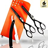 Christmas Special Offer - Left Handed 2 Pieces Hairdressing Scissors 5 inch - Deep Black Japenese Steel Hair Thinning Scissors Barber Hair Cutting Scissors Set + Free Scissors Accessries & Luxury Case