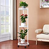 L;IAN Wrought Iron Flower Stand with Wheel,European-style Balcony Flower Shelf Holder Living Room Chlorophytum Plant Pot Rack Movable (Color : White - Large)
