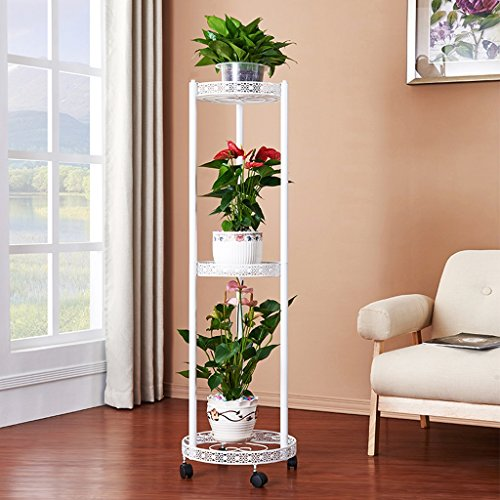 L;IAN Wrought Iron Flower Stand with Wheel,European-style Balcony Flower Shelf Holder Living Room Chlorophytum Plant Pot Rack Movable (Color : White - Large) by L;IAN