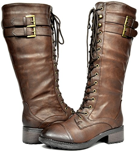 DREAM PAIRS Women's Georgia Brown Faux Leather Pu Knee High Riding Combat Boots - 7 M US]()