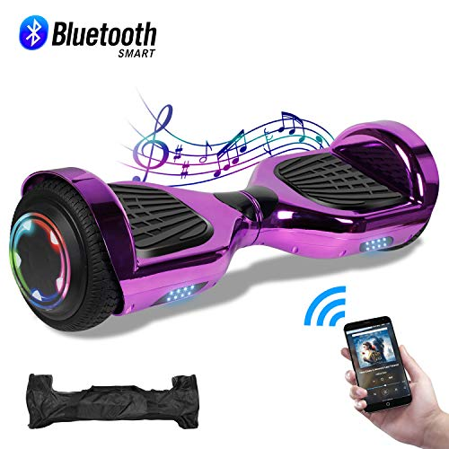 CBD Chrome Hoverboard for Kids, 6.5″ Bluetooth Self Balancing Hoverboard, Hoverboard with Bluetooth and LED Lights, UL 2272 Certified Hover Board