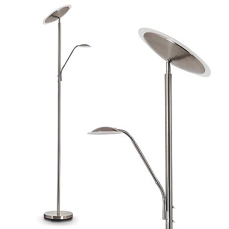 Foco LED al techo matsi de metal níquel mate – Lámpara de pie para oficina – Salón – Dormitorio – 022 y foco por separado