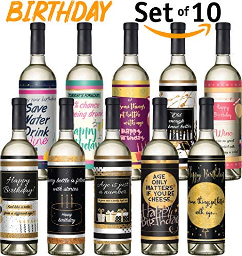 Custom Wine Bottles (Wine Bottle Labels - Set of 10 - Birthday Wine Labels - Birthday Gold Silver Rose Decorations 21 30th 40th 50th 60th birthday gifts for woman and)
