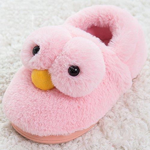 Eastlion Damen Winter Home Innenbereich Warm Halten Draussen Lovely Gelbe Ente Plüsch Hausschuhe Schuhe Dunklen rosa Schuhe