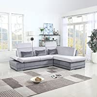 Classic Large Brush Microfiber L-Shape Sectional Sofa Couch with Chaise Lounge and Adjustable Headrest (Dark Grey / Light Grey)