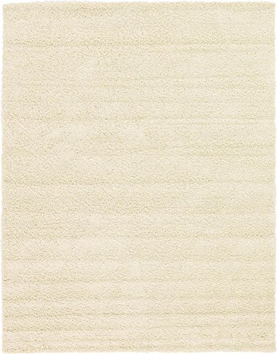 (Unique Loom Solo Solid Shag Collection Modern Plush Pure Ivory Area Rug (9' 0 x 12' 0))