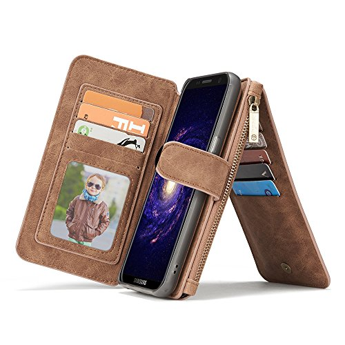 Galaxy S8 Wallet Case, Galaxy S8 Case,KingTo Flip Stand Smart Wallet Cover PU Leather Credit Card Slot Cash Holder Protective Case for Samsung Galaxy S8 5.8'', Light Brown by KingTo (Image #3)