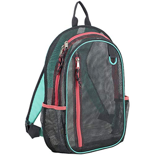 Eastsport Active Mesh Backpack with Padded Adjustable Straps, Graphite/Turquoise/Sweet Coral