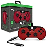 Hyperkin X91 Wired Gaming Controller - Red - for Xbox One and Windows 10 (PC and Tablet) via USB with Retro Design, 3.5mm Headset Jack, and 9 Ft. Cable