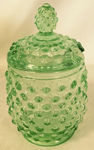 Hobnail Covered Honey Jar or Sugar Jar (Apple Green / Depression Green) - Green Depression Glass Sugar