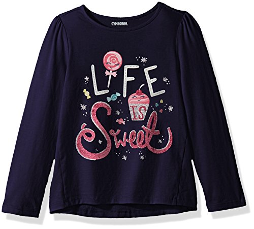Gymboree Girls' Toddler Long Sleeve Winter Graphic Tee, Ocean Trench, 3T
