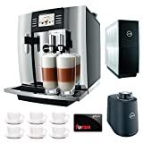 Jura Giga 5 Cappuccino & Latte Macchiato System + $50 aSavings Gift Card + Jura Cup Warmer Black Stainless Steel and Jura Cool Control Milk Cooler + Accessory Kit … (Black) (Aluminum)