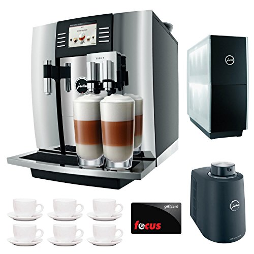 Jura Giga 5 Cappuccino & Latte Macchiato System + $50 aSavings Gift Card + Jura Cup Warmer Black Stainless Steel and Jura Cool Control Milk Cooler + Accessory Kit … (Black) (Aluminum) by Jura