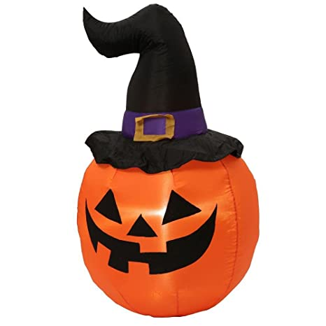 2a45ee6edce Amazon.com  Halloween Inflatable LED Pumpkin with Witch Hat 5 ft  Garden    Outdoor