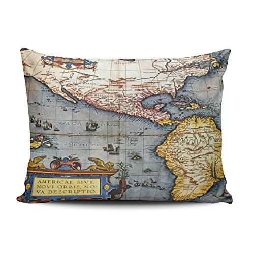 Antiquarian Map - SALLEING Custom Fancy Plush Antiquarian Map Compass Poppies Decorative Pillowcase Pillowslip Throw Pillow Case Cover Zippered One Side Printed 12x16 Inches