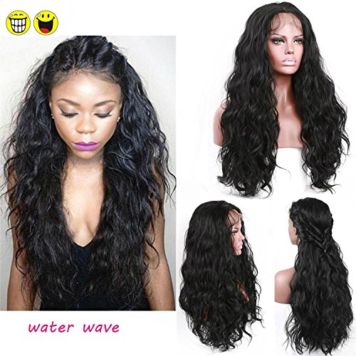 Fashion Sexy Long Water Wave Lace Front Wigs With Baby Hair Glueless 180 Density Synthetic Lace Wig Heat Resistant Fiber Hair Half Hand Tied For Black Women 24Inch Natural Black Color