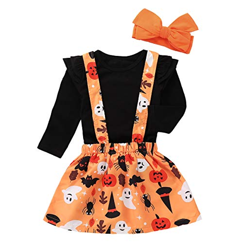 Treafor Baby Girl Halloween Outfit Set Pumpkin Bat Ghost Witch Print Suspender Skirt + Headband Outfit Set (2Y, Orange) -