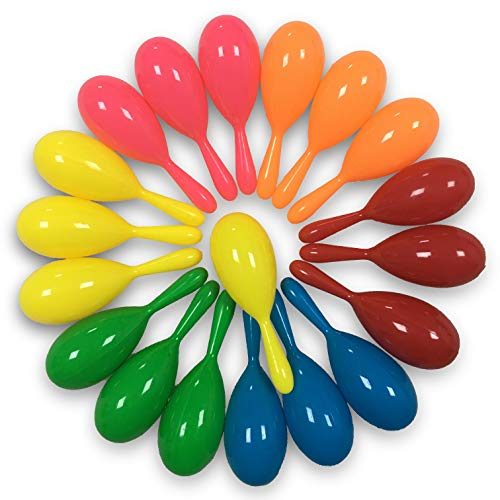 Find Bargain GuassLee 24PCS Neon Maracas Shakers Mini 6 Colors Noisemakers Mexican Cinco de Mayo Fie...