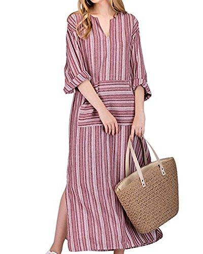 Jacansi Women Bohemian Beach Cotton Linen Retro Stripe Kaftan Long Dress with Pocket Red L