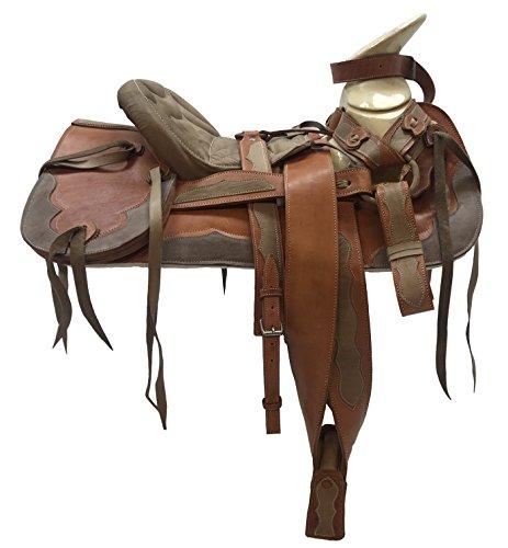 (Mexican Charro Horse Saddle Leather Brown/Tan Silla de Montar Adulto Fuste 151/2)