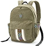 Women Canvas Backpacks Embroideried Daypack Casual Shoulder Bag, Shool Bag Laptop Backpack for Girls (School Bag Style B)