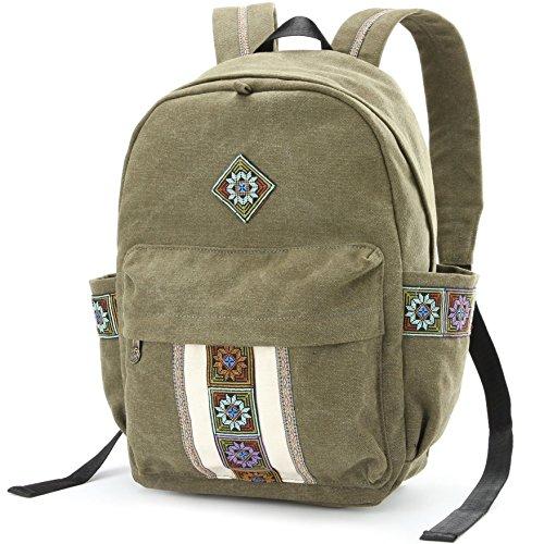 Women Canvas Backpacks Embroideried Daypack Casual Shoulder Bag, Shool Bag Laptop Backpack for Girls (School Bag Style B)