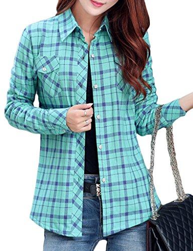 Lasher Women's Button Down Plaid Shirt Warm Long Sleeve Fleece Lined Top Blouse Green ()