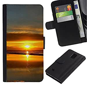 Paccase / Billetera de Cuero Caso del tirón Titular de la tarjeta Carcasa Funda para - Sunset Beautiful Nature 99 - Samsung Galaxy Note 4 SM-N910