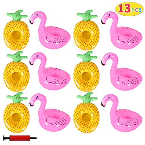 Flamingo Drink Holder (Max Fun Inflatable Drink Holders Flamingo Pineapple Floats Cup Coasters with Inflatable Pump for Kids Toys and Pool Party ( 13 PCS)