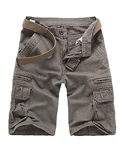 Hombre Casual Pantalones Cortos Con Cremallera Jogging Pantalón Cargo Rucio