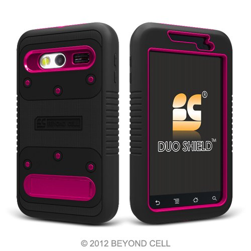 Magenta Protector Shield Case (Duo Shield Protector Case with Screen Guard for Huawei Activa 4G - Black/Magenta)