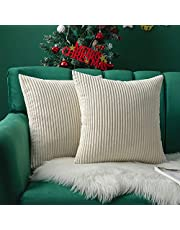 MIULEE Pack of 2 Christams Corduroy Soft Solid Decorative Square Throw Pillow Covers Cushion Cases Pillow Cases for Couch Sofa Bedroom Car 18 x 18 Inch 45 x 45 cm, White