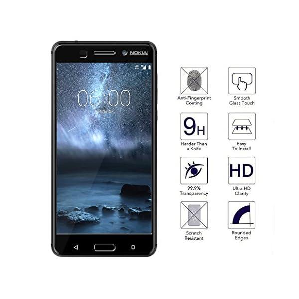 [2Pack] newzerol Protector de pantalla Cristal templado para Nokia 6[cobertura completa] alta definición [garantía de reemplazo de por vida] borde negro