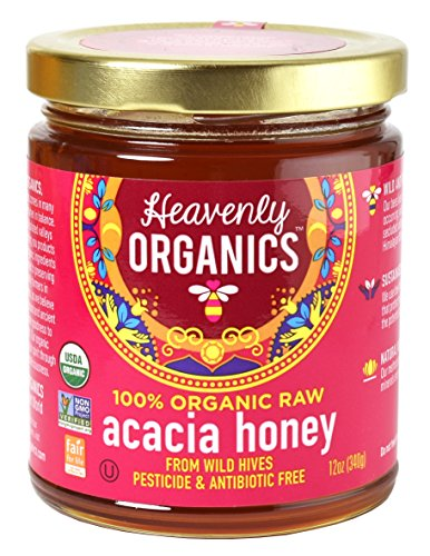 Bee India Honey (Heavenly Organics 100% Organic Raw Acacia Honey (12oz) Lightly Filtered - Made from Wild Beehives & Free Range Bees; Dairy, Nut, Gluten Free, Kosher)