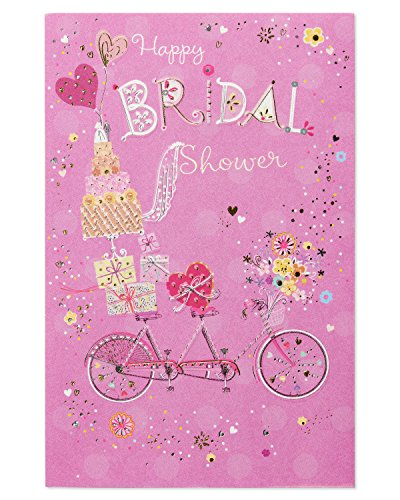 American Greetings Bicycle Happy Bridal Shower Wedding Card with -